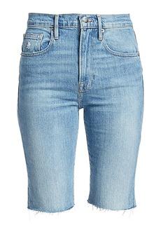 FRAME Le Vintage High-Rise Raw-Edge Bermuda Denim Shorts