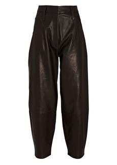 FRAME Leather Barrel-Leg Pants