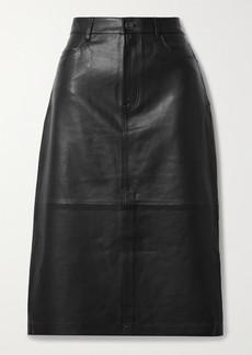 FRAME Leather Midi Skirt