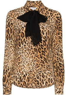 FRAME leopard print button down silk blouse