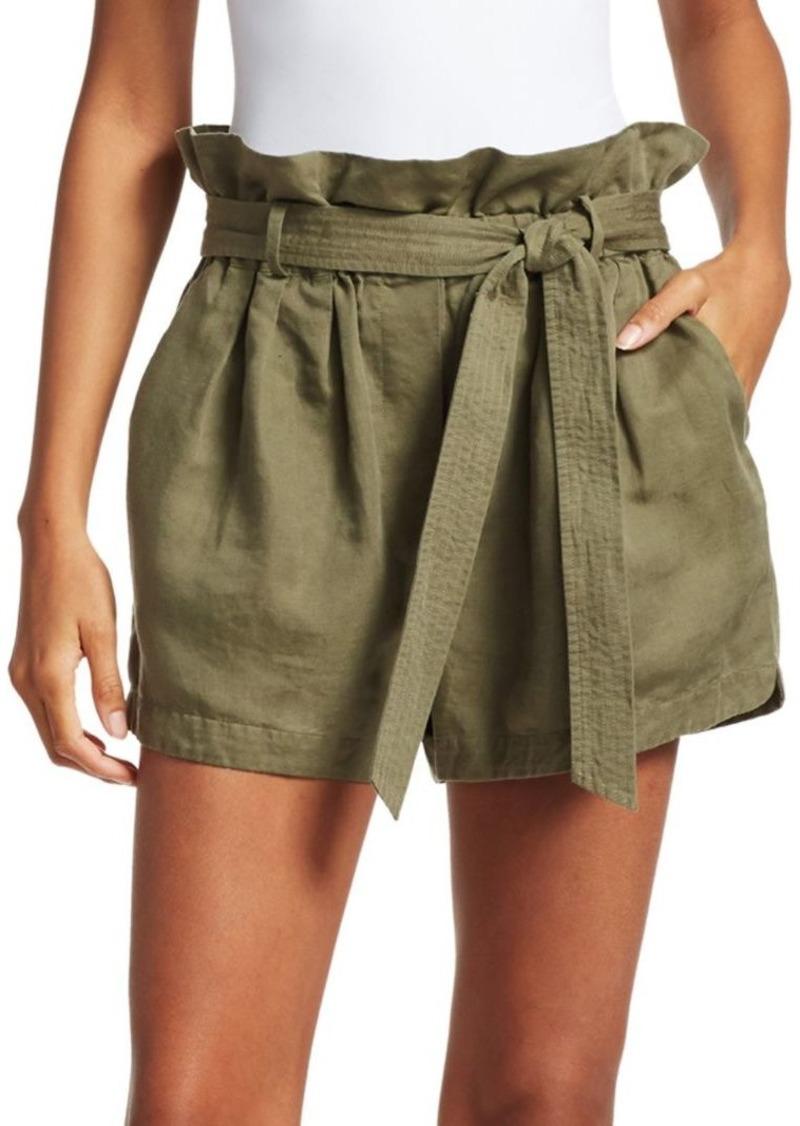 FRAME Linen-Blend Paperbag Shorts