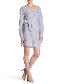 FRAME Linen Stripe Shirt Dress