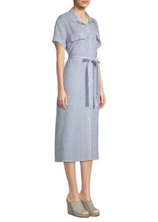 FRAME Linen Striped Shirtdress