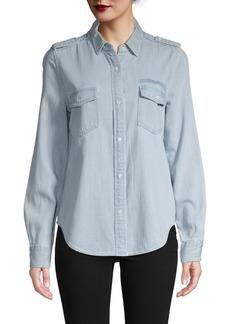 FRAME Logo Denim Button-Down Shirt