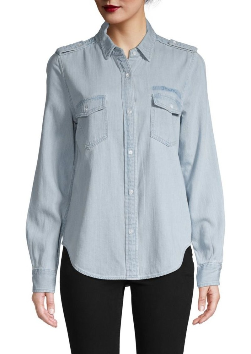 FRAME Logo Denim Button-Down Shirt