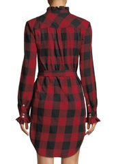 FRAME Long-Sleeve Button-Front Flannel Check Shirtdress