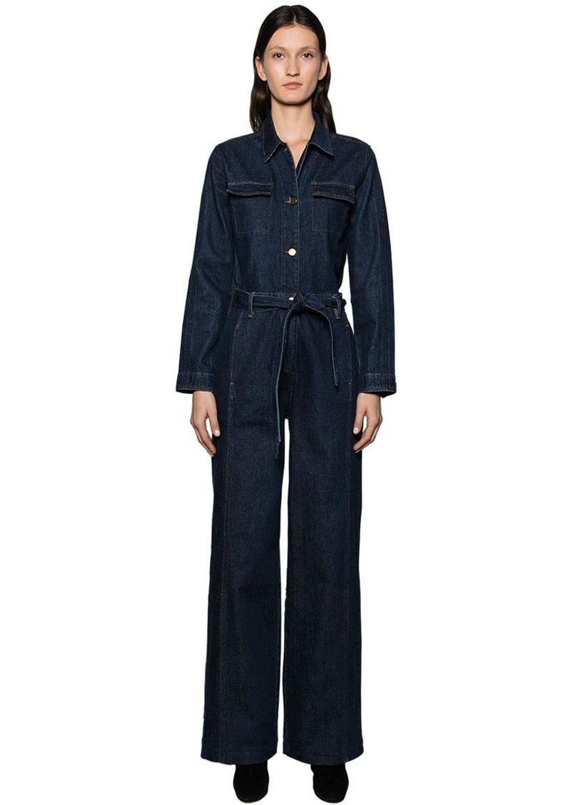 FRAME Long Sleeve Cotton Denim Jumpsuit