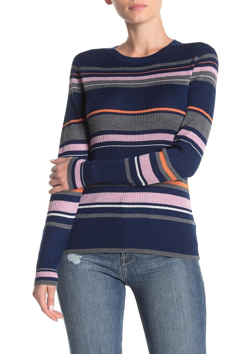 FRAME Long Sleeve Panel Stripe Print Sweater