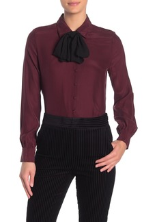 FRAME Long Sleeve Silk Necktie Blouse