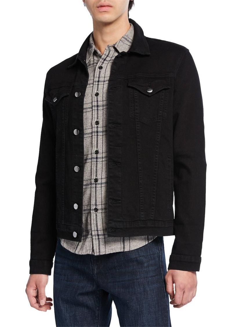 FRAME Men's L'Homme Button-Front Denim Utility Jacket
