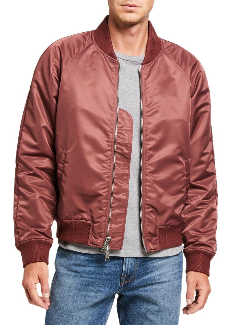 FRAME Men's Nylon Satin Bomber Jacket