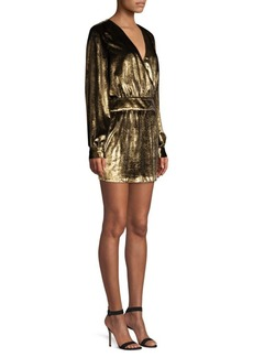 FRAME Metallic Velvet A-Line Mini Dress