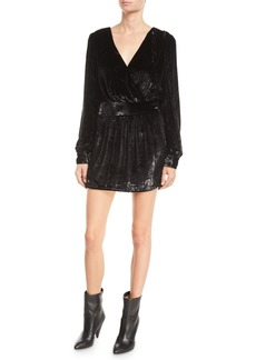 FRAME Metallic Velvet Long-Sleeve Short Cocktail Dress