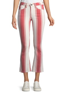 FRAME Mid-Rise Striped-Denim Cropped Mini Boot-Cut Jeans