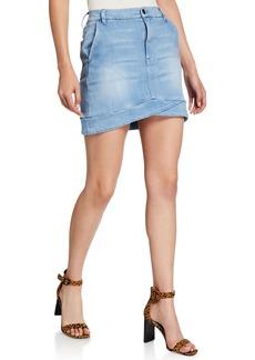 FRAME Mitered Denim Mini Skirt