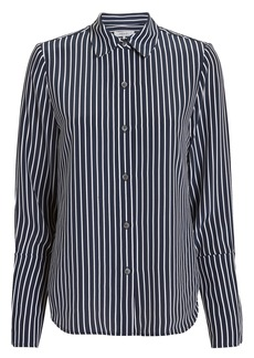 FRAME Navy Striped Pajama Blouse