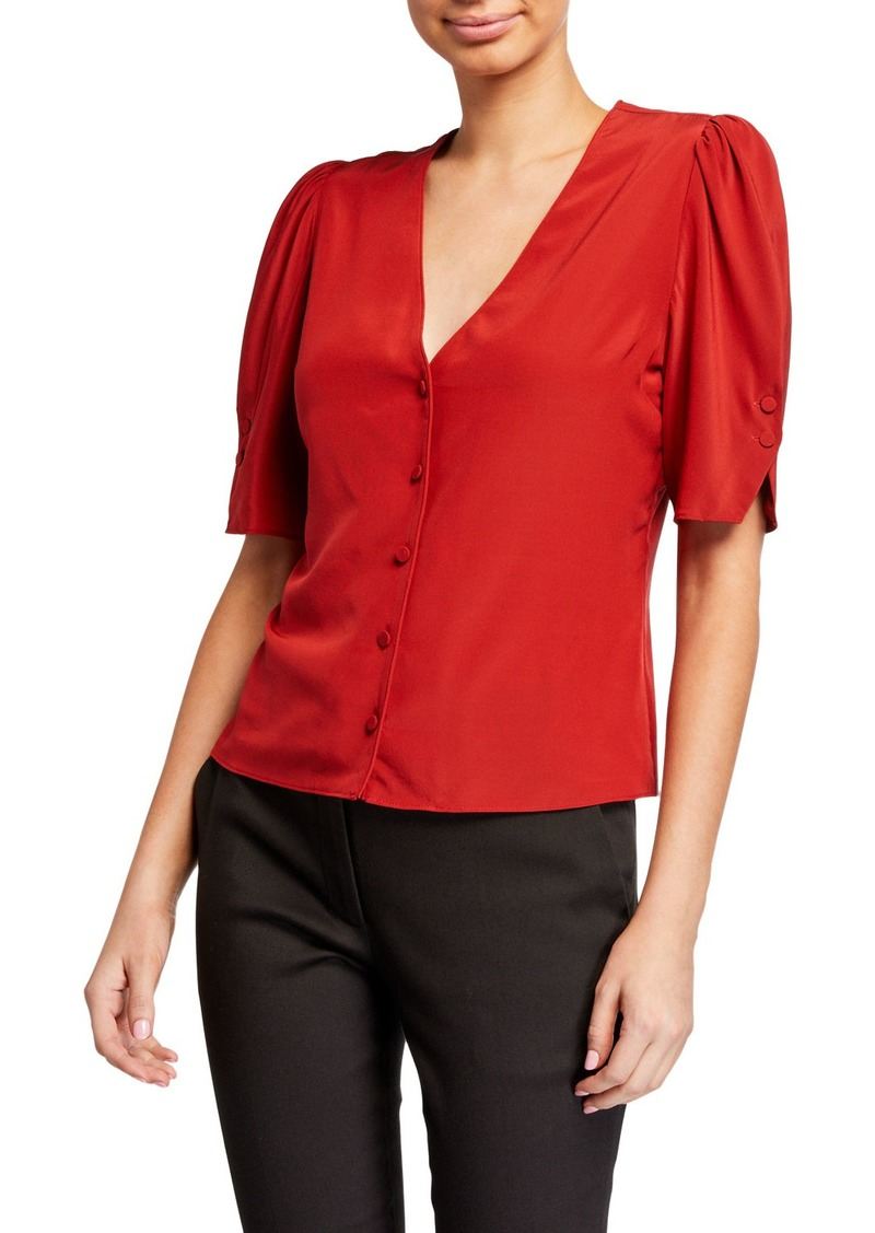 FRAME Olivia V-Neck Button-Front Silk Top