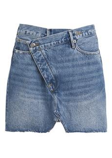 FRAME Ophelia Overlap Denim Mini Skirt