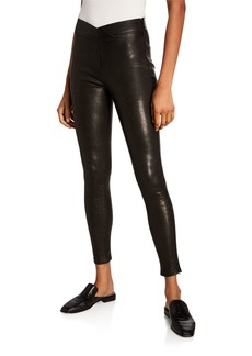 FRAME Overlap Waist Leather Pull-On Pants
