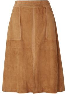 FRAME Paneled Suede Skirt