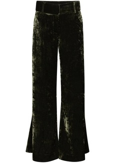 FRAME Panne crushed-velvet wide-leg trousers