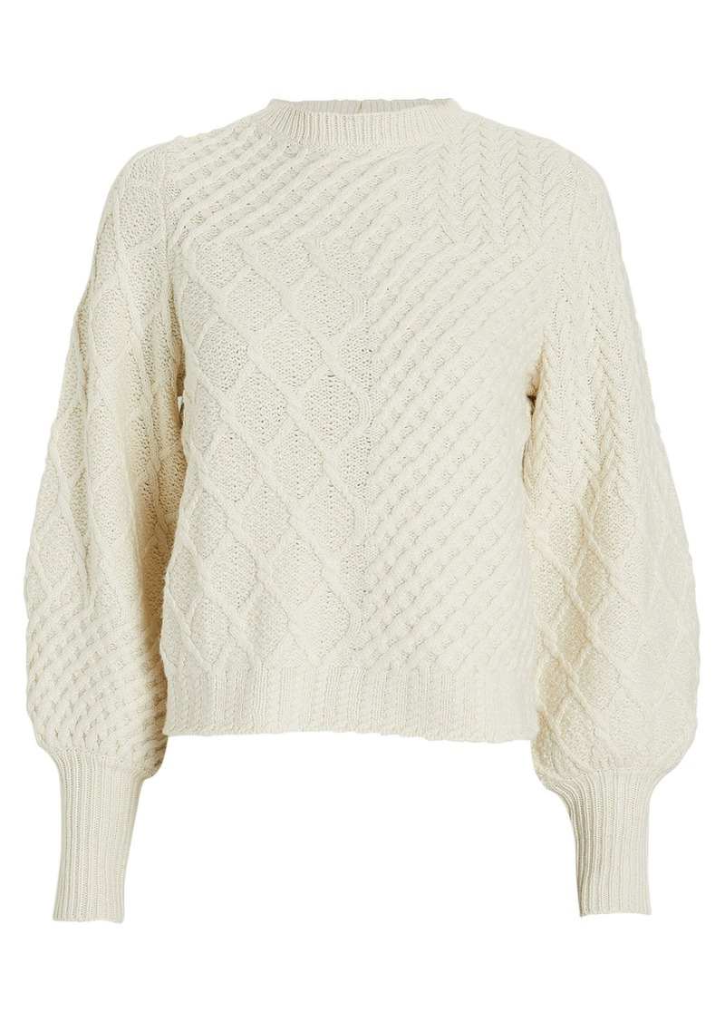 FRAME Patchwork Cable Knit Wool Sweater