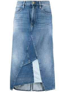 FRAME patchwork high-waisted denim skirt