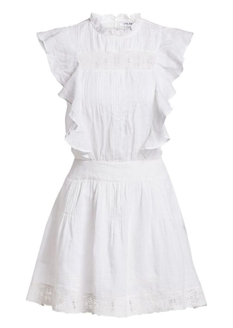 FRAME Pintuck Lace Panel Ruffled Mini Dress
