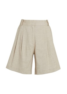 FRAME Pleated High-Rise Shorts