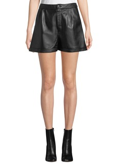 FRAME Pleated Leather Culotte Shorts