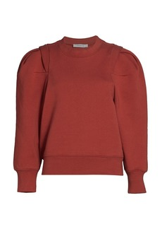 FRAME Pleated Panel Puff-Sleeve Sweatshirt