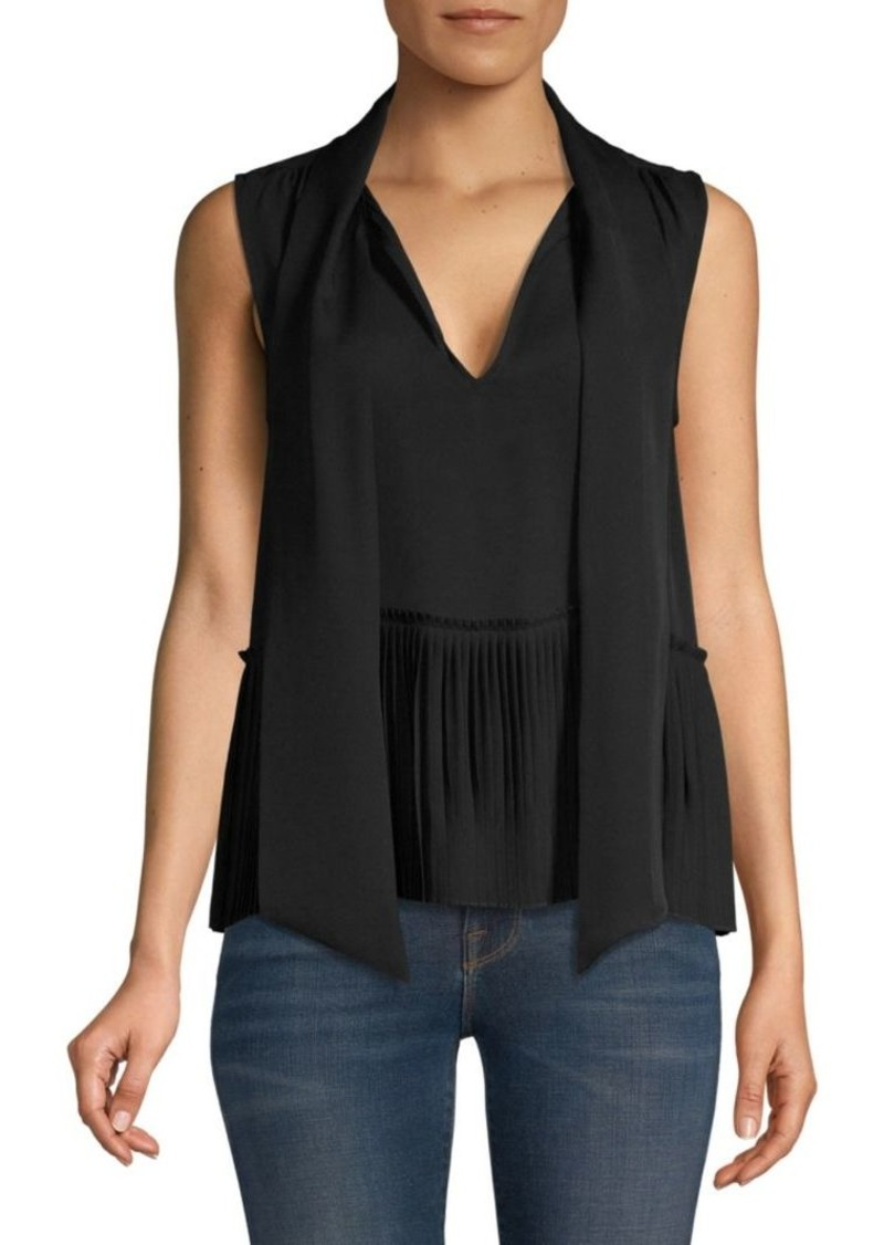 FRAME Pleated Sleeveless Tieneck Silk Blouse