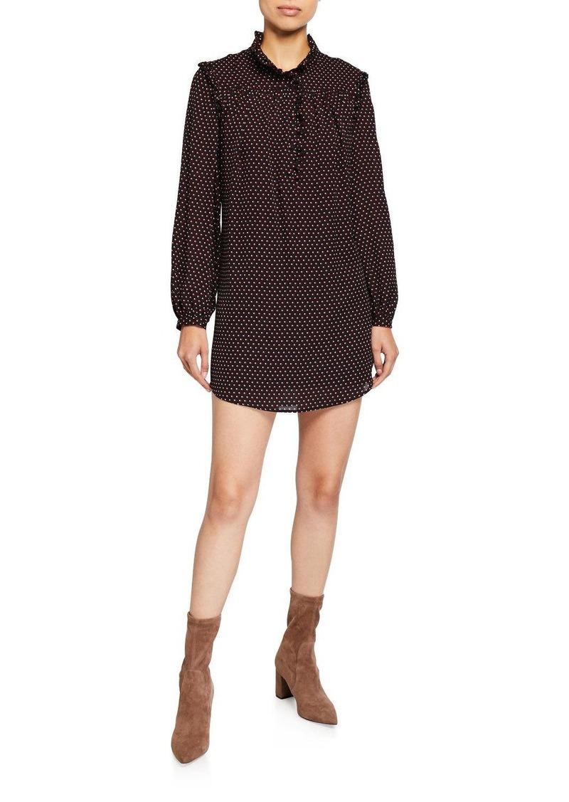 FRAME Polka Dot Long-Sleeve Mini Party Dress