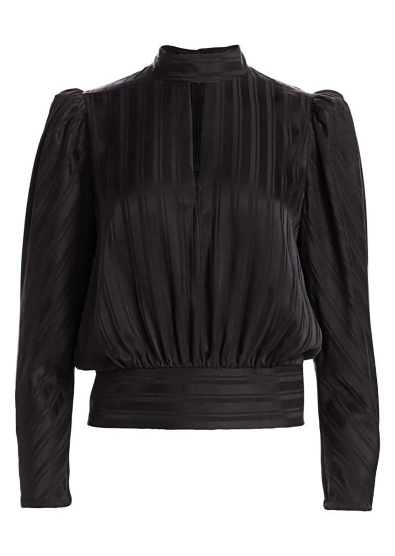FRAME Puff-Sleeve Jacquard Silk Top