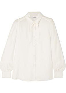 FRAME Pussy-bow Washed-silk Blouse
