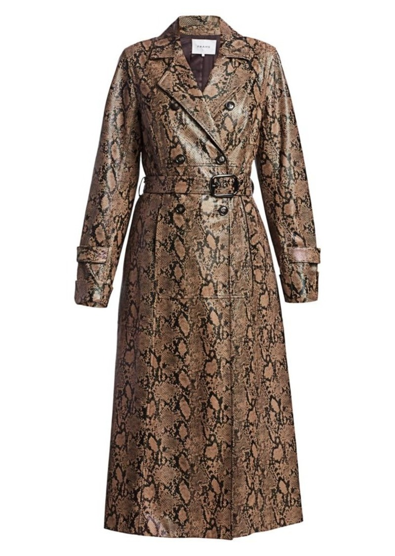 FRAME Python-Embossed Leather Trench Coat