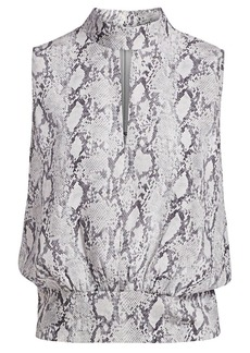 FRAME Python-Print Silk Party Top