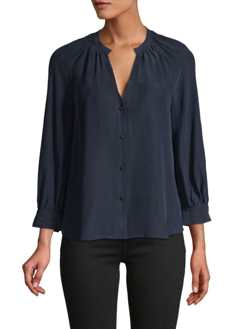 FRAME Raglan-Sleeve Silk Top
