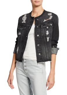 FRAME Raw Edge Distressed Denim Jacket