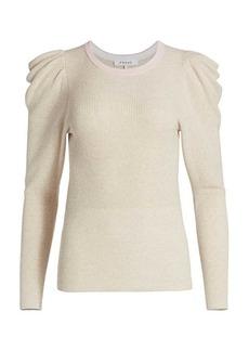 FRAME Ribbed Feminine Puff-Sleeve Sweater