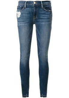 FRAME ripped cuff skinny jeans