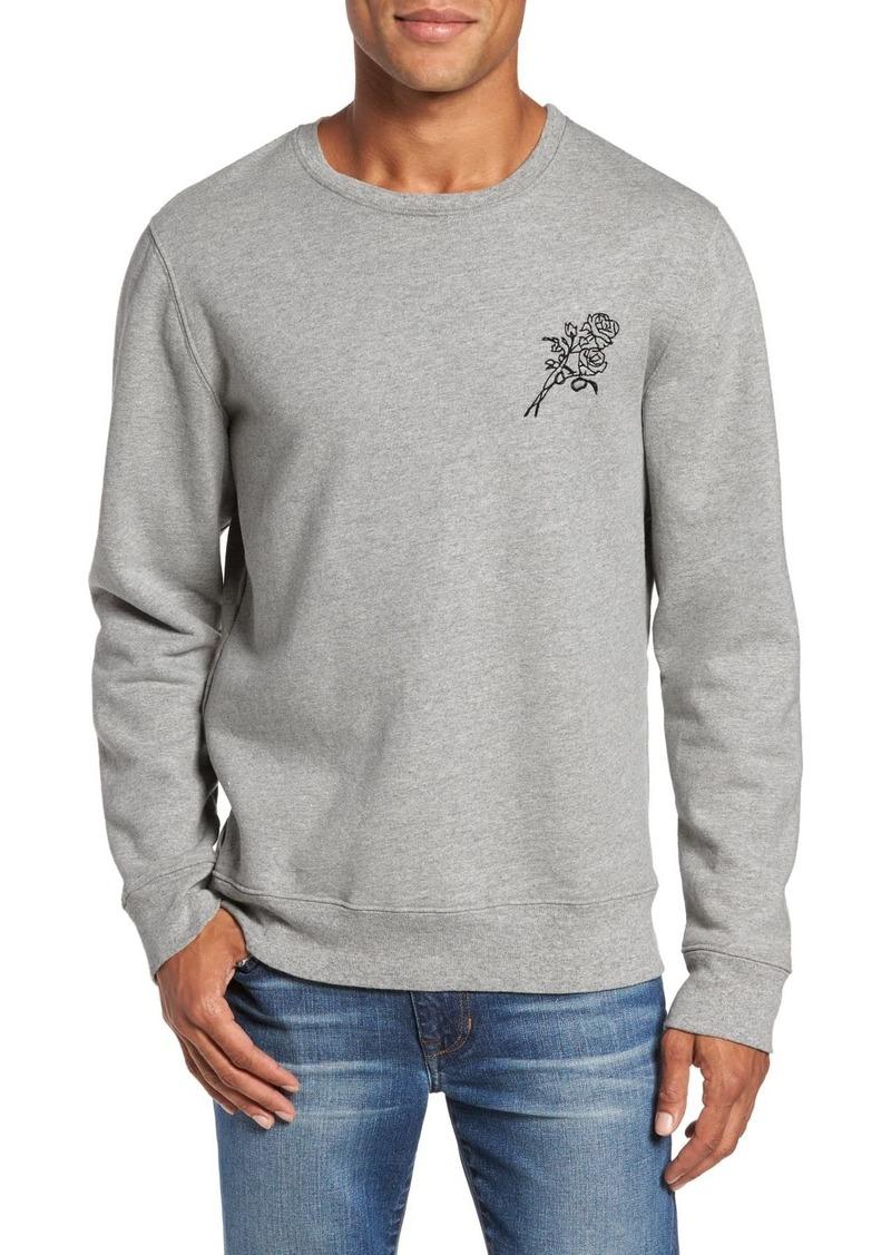 FRAME Rose Embroidered Crew Neck Sweatshirt