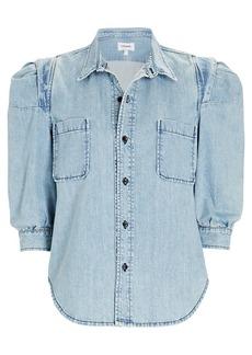 FRAME Rosette Denim Puff Sleeve Shirt