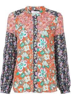 FRAME ruched mandarin neck raglan blouse