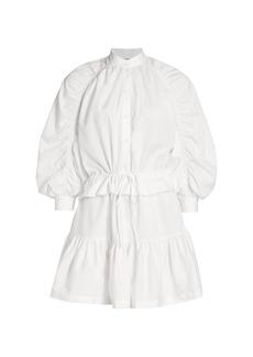 FRAME Ruched Sleeve Poplin Mini Dress