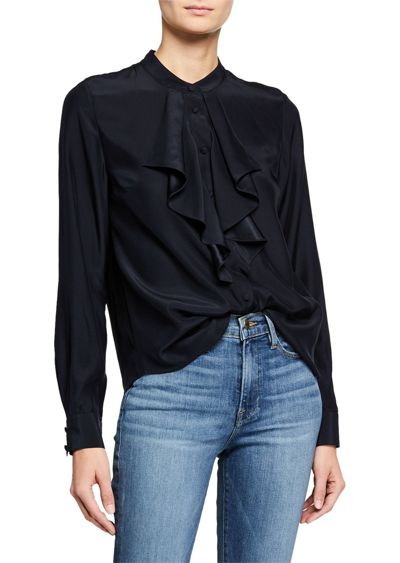Ruffle Cascade Long-Sleeve Silk Button-Up Top