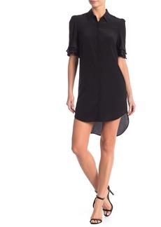 FRAME Ruffle Sleeve Silk Button Down Dress