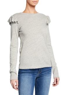FRAME Ruffle-Trim Long-Sleeve T-Shirt