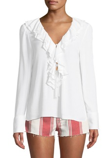 FRAME Ruffle V-Neck Long-Sleeve Blouse