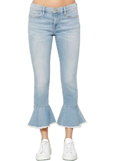 FRAME Ruffled Hem Cropped Denim Jeans